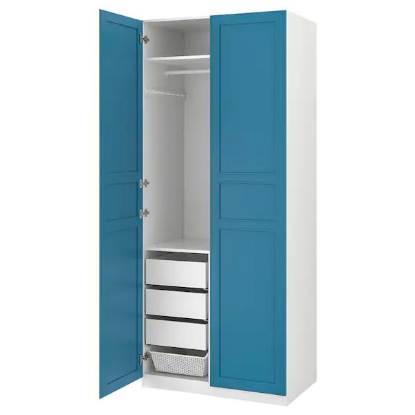 PAX Guardaroba bianco, Flisberget blu 100x60x236 cm