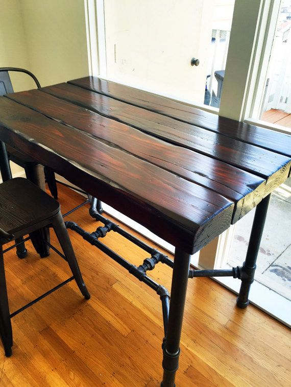 Industrial Pipe And Aged Wood Beam Dining By AustinThomasWoods A - Aged wood dining table