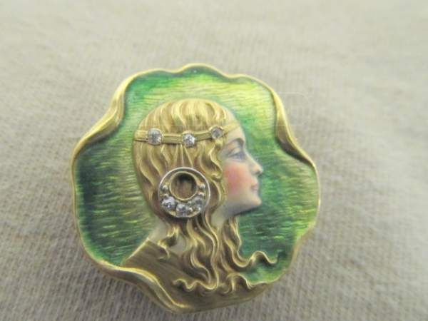 shopgoodwill.com - #19641447 - Stunning Art Nouveau Pin/Pendant w Diamond Accent - 1/25/2015 11:04:32 AM