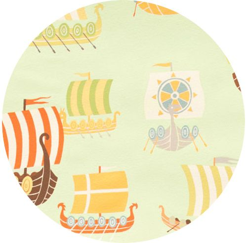 """Alexander Henry, Vikings, The Viking Fleet Jade (PJ pants for the boys)   Fabric is sold by the 1/2 Yard. For example, if you would like to purchase 1 Yard, you would enter 2 in the Qty. box at Checkout. Yardage is cut in one continuous piece.  Examples:  1/2 yard = 1 1 yard = 2 1 1/2 yards = 3 2 yards = 4   1/2 Yard Measures 18"""" x 44/45""""  Fiber Content: 100% Cotton   Hover over image for a larger, better view"""