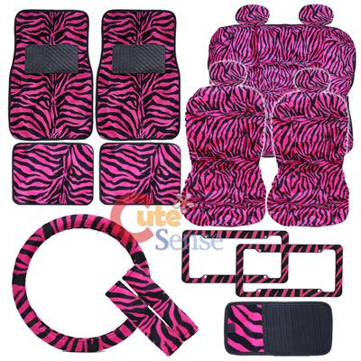 Hot Pink Car Accessories | Hot Pink Zebra Animal Print car seat ...