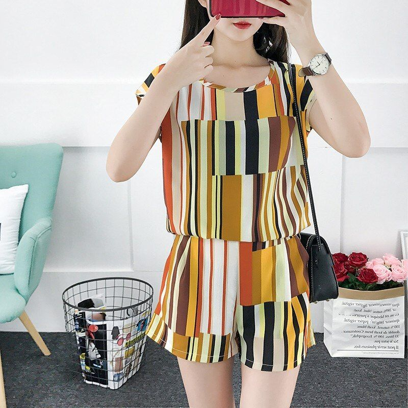 US $12.83 17% OFF|Plus Size Chiffon Shorts Suit 2 Piece Set Women Colorful Striped Top and Pant Suit Summer Clothes Outfit|Women's Sets| - AliExpress