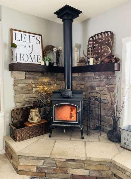 New Wood Burning Stove Fireplace Corner Mantles Ideas Burning