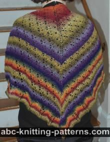 ABC Knitting Patterns - Starry Night Shawl with Crocheted Bead Edging.