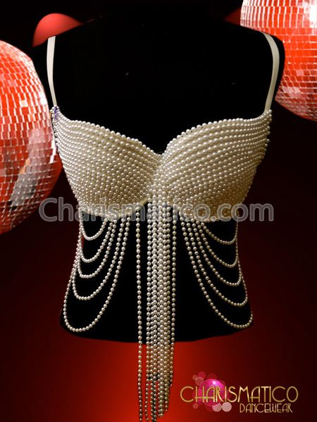Gorgeous Showgirl Burlesque Sexy GOGO pearl bra - Charismatico Dancewear Store
