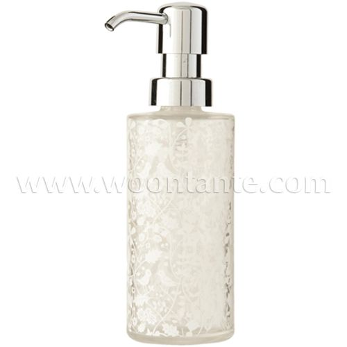 Gl Soap Dispenser With Pump Mechanism Transpa A White Bird And Flower Design