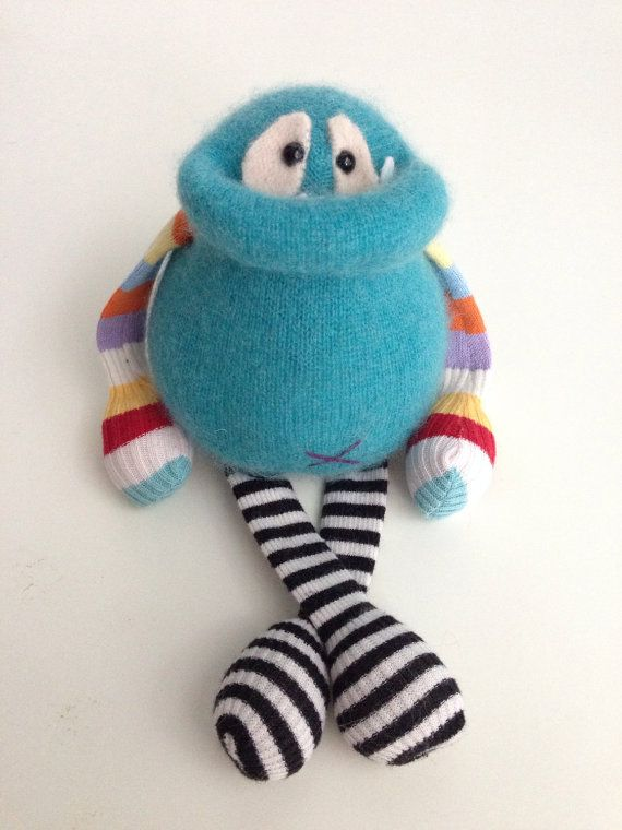 Smug Monster itty bitty- one of a kind plush sculpt upcycled