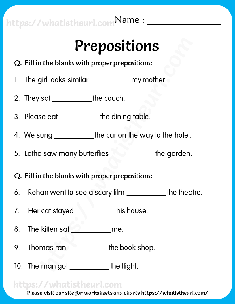 small resolution of Prepositions Worksheets for Grade 5   Preposition worksheets