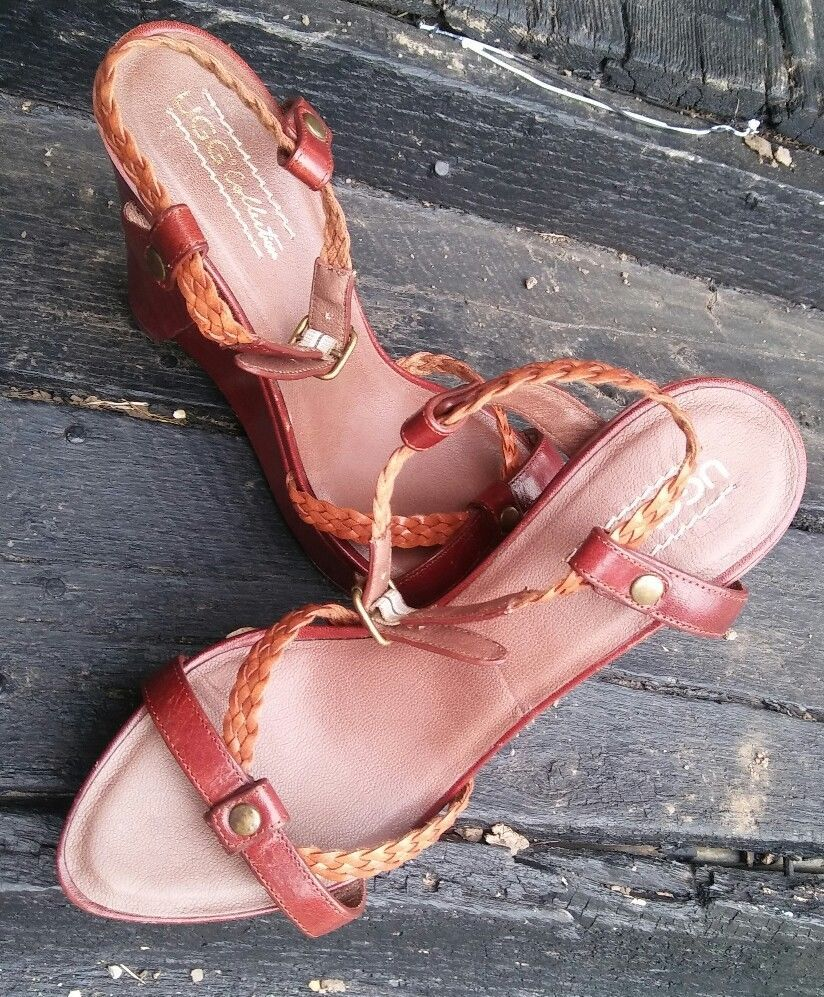 ad055f8e0336 Ugg wedge Sandals Wood braided Leather straps Platform Wedge Brown sz 9 New   Ugg  PlatformsWedges