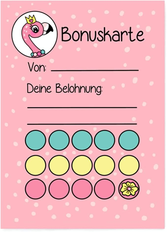 Photo of 5X Bonus Cards Flamingo DIN A6 Reward System Children for J …