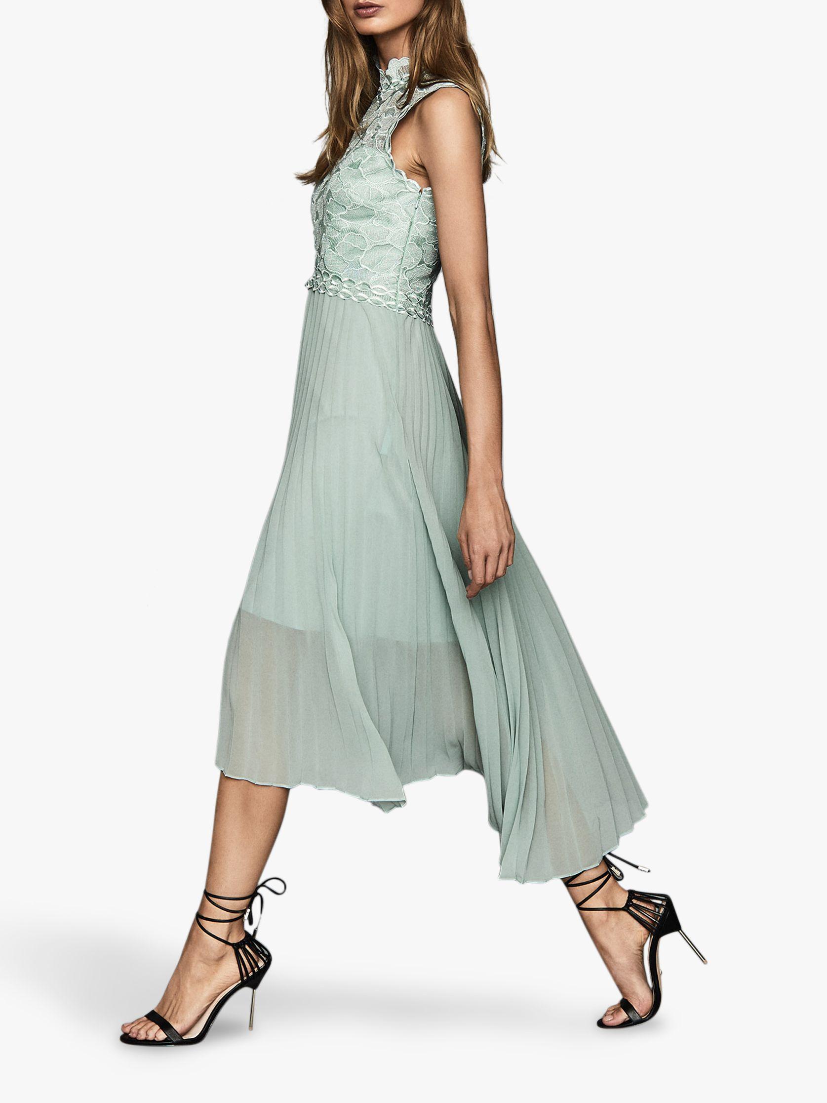 Reiss Aideen Lace Pleated Midi Dress, Sage Green #sagegreendress