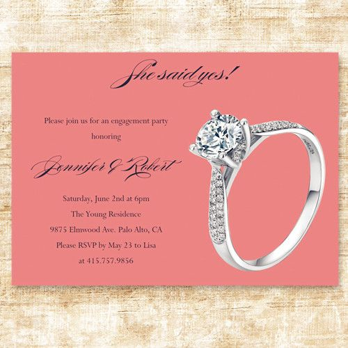 Simple Cheap Coral Ring Engagement Party Invitation Cards EWEI020   Engagement  Invitation Template  Format Of Engagement Invitation