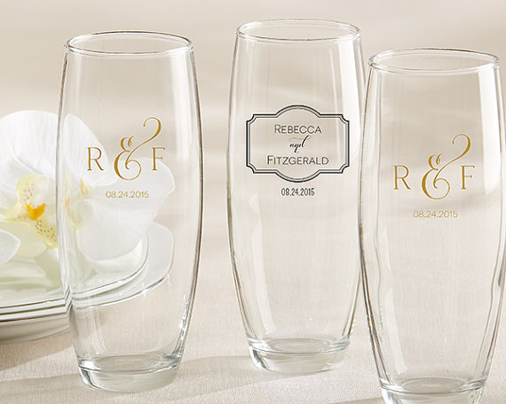 Personalized 9 oz. Stemless Champagne Glass Classic by TaaraBazaar