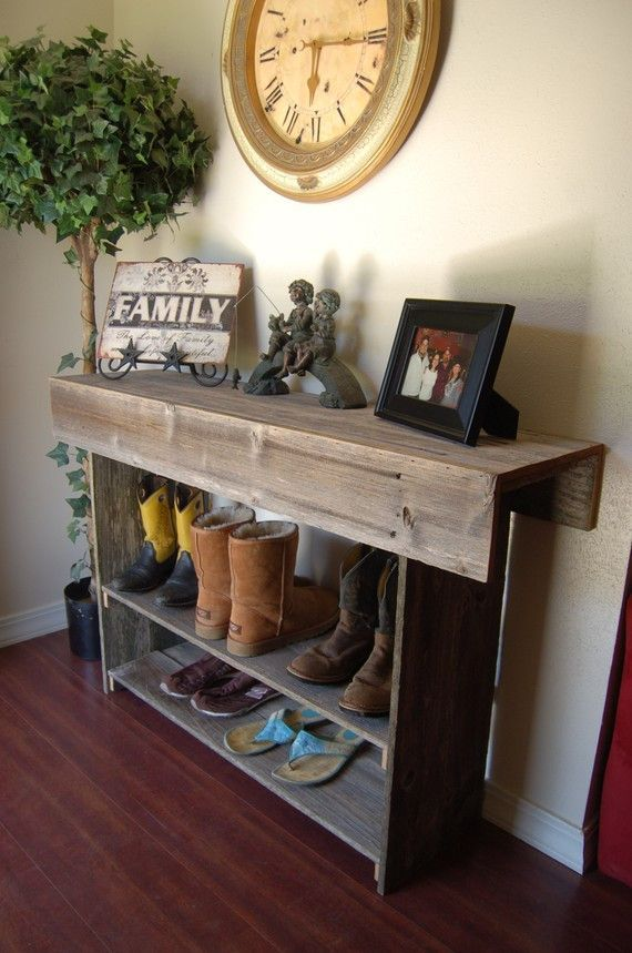 Farmhouse Large Console Table Entry Sofa Raw Wood 4 Foot Recycled Furniture Rustic Country Home Decor