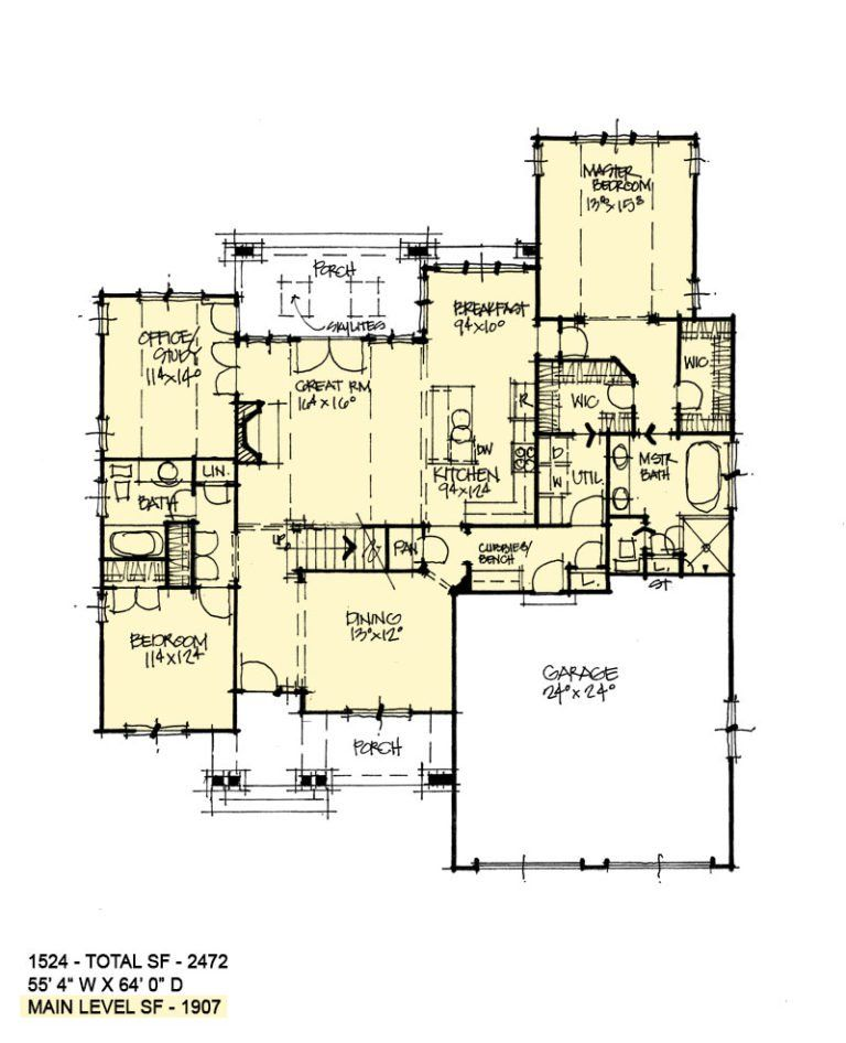First Floor Plan Of Conceptual House Plan 1524 House Plans Two