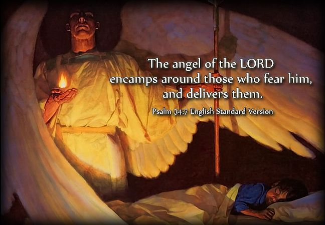 The angel of the Lord encamps around those who fear him, and delivers them. -Pslam 34:7 (ESV) | Psalms, Psalm 91 kjv, Psalm 91 11