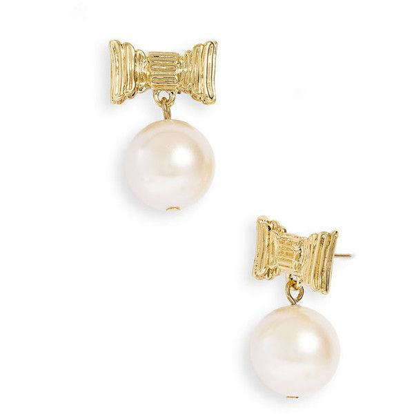kate spade new york 'all wrapped up' glass pearl earrings ($68) found on Polyvore