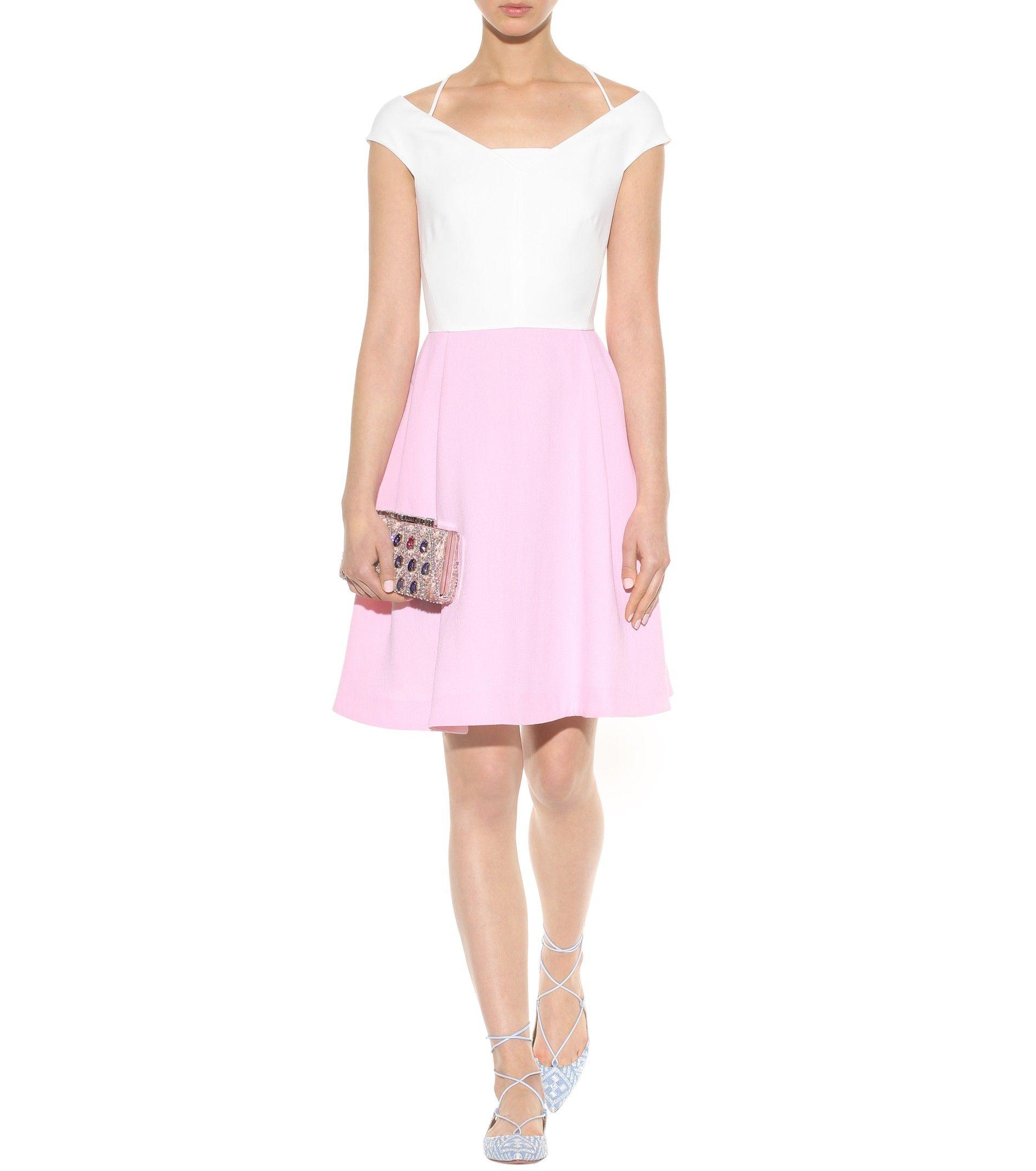 Natan white and pink wool-crêpe dress