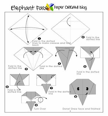 easy origami elephant face afrique pinterest. Black Bedroom Furniture Sets. Home Design Ideas