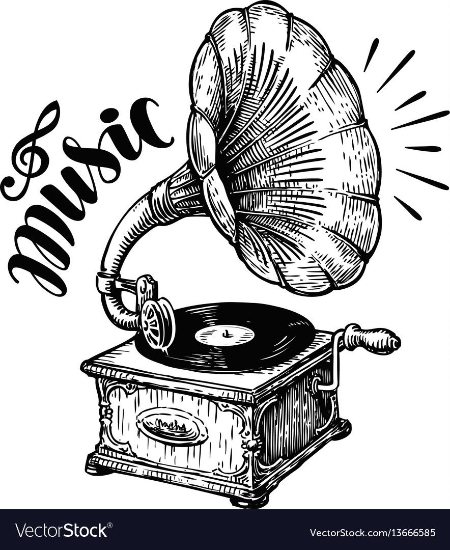 hand drawn gramophone sketch music nostalgia vector image on vectorstock how to draw hands gramophone tattoo music tattoos hand drawn gramophone sketch music
