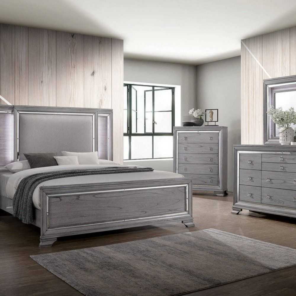 Alanis Gray Wood King Bed W Fabric Headboard By Furniture Of