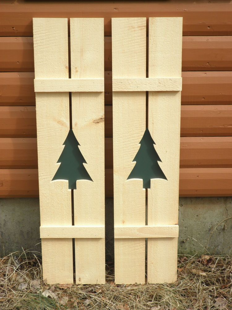 Details about new treerustic pine shutters log cabin - Exterior wooden shutters for windows ...