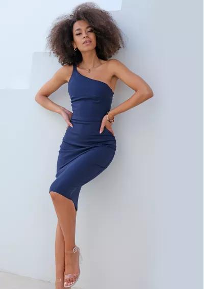 Dopasowana Sukienka Z Asymetria Na Jedno Ramie Granatowa Dresses Bodycon Dress One Shoulder Dress