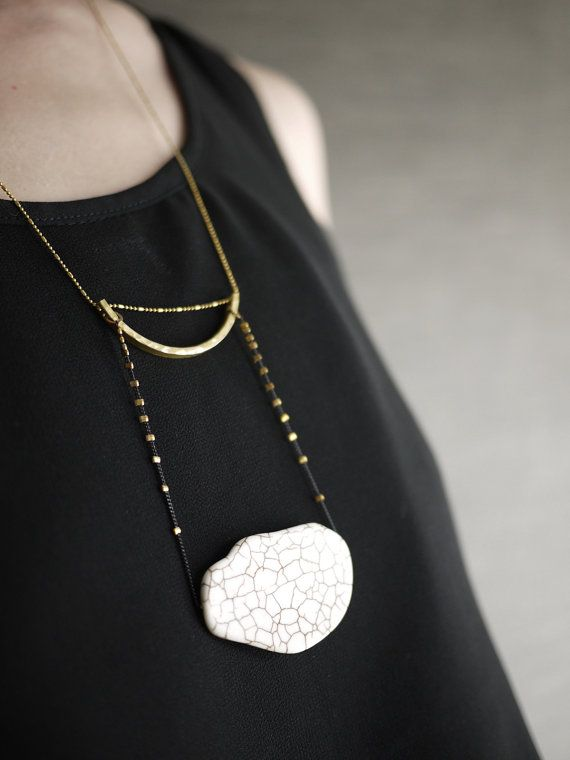 Extra Long Minimal Brass Statement Necklace with by pookaqueen, $54.00