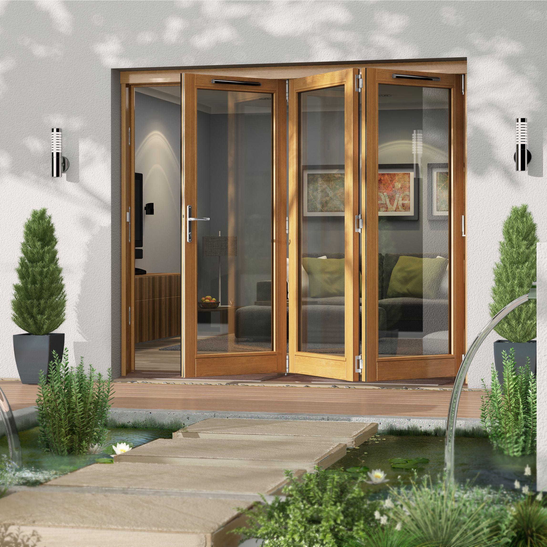 Golden Oak Timber Glazed Folding Patio Door H 2094mm W 2394mm Departments Diy At B Q