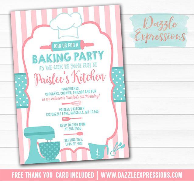 Printable baking party birthday invitation pink and teal chef printable baking party birthday invitation pink and teal chef party kids cooking party stopboris Choice Image