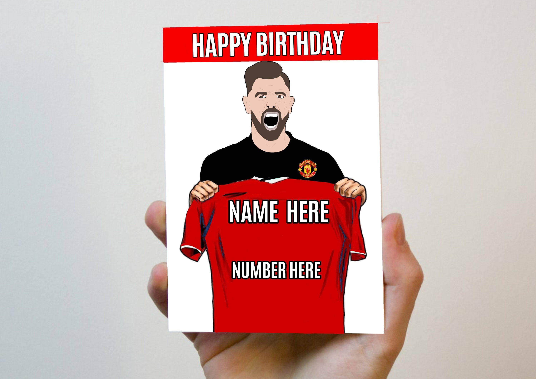 Manchester United Football Club Personalised Football Birthday Card Bruno Fernandes Foot Personalized Football Football Birthday Manchester United Football