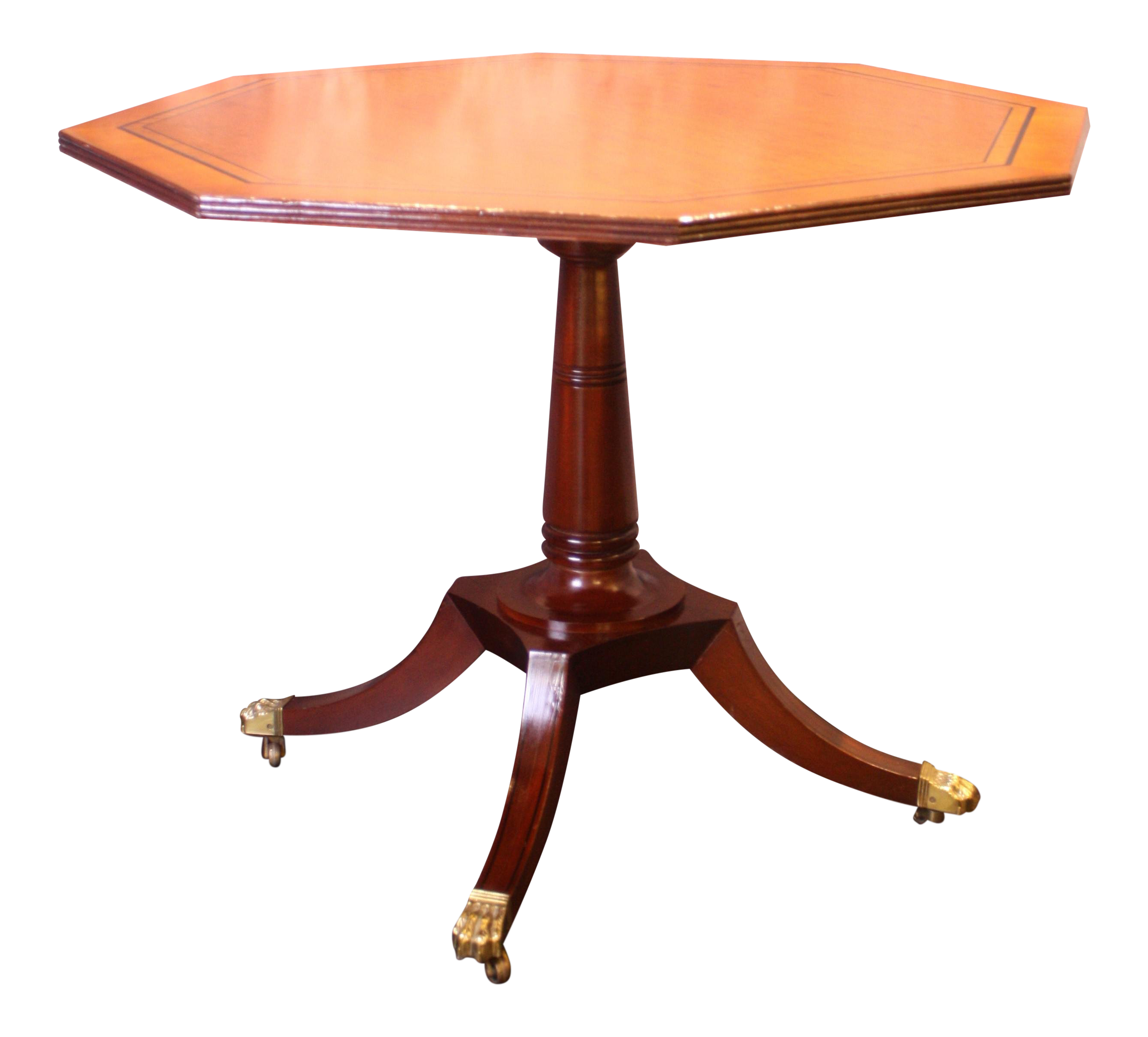 1980s Traditional Baker Furniture Octagonal Mahogany Side Table
