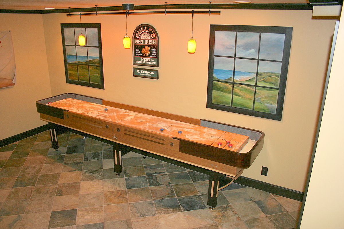 After all, the area will be used for playing games. I love shuffleboard! Cool finished basement game room ...