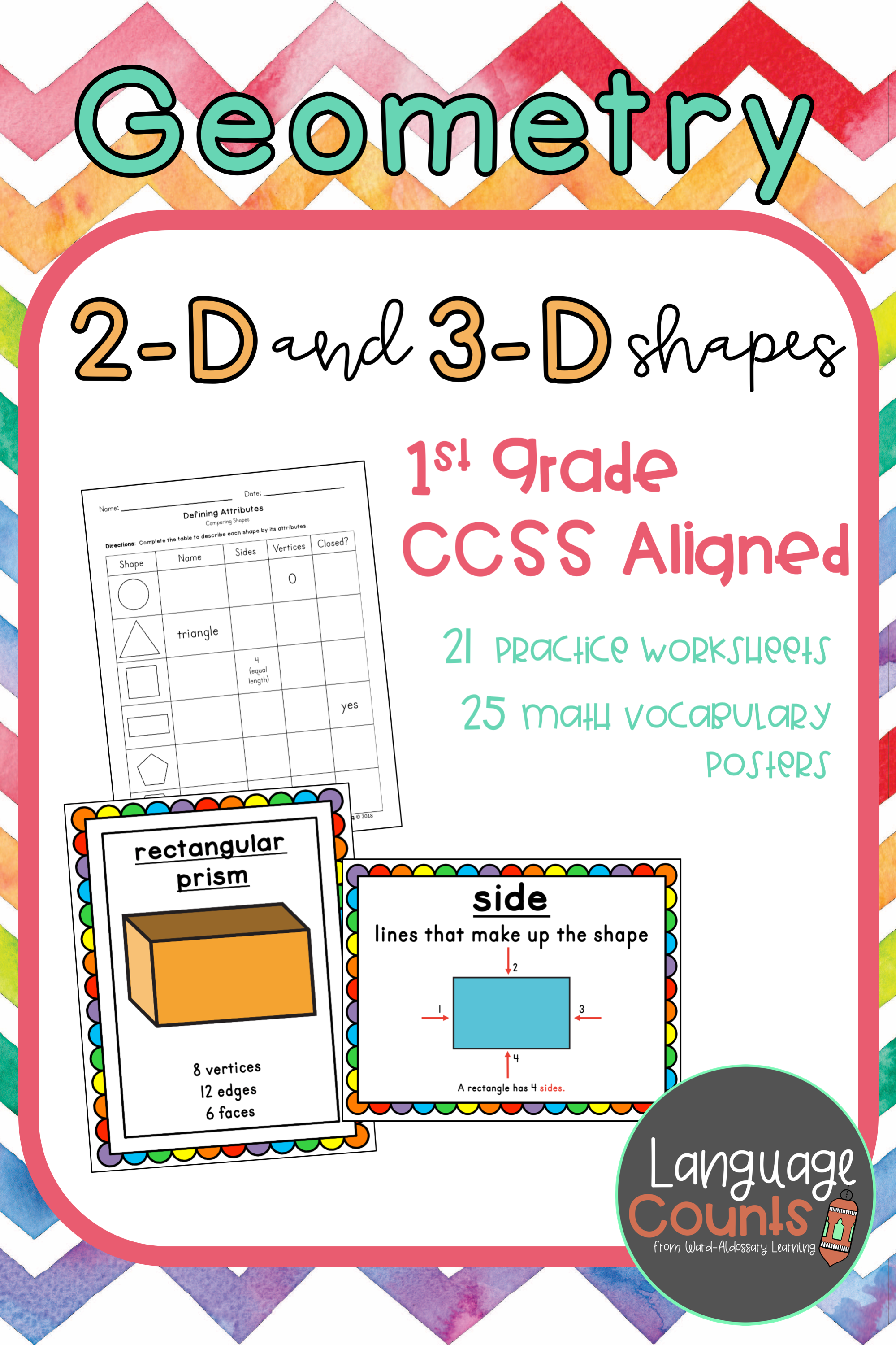 Geometry 2 D And 3 D Shapes 1st Grade 1st Grade Worksheets Elementary School Math Vocabulary Posters [ 2999 x 1999 Pixel ]