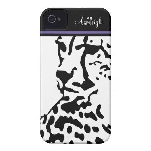 Girly iPhone4 Leopard Face Monogram Purple Stripe
