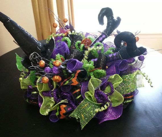 Halloween deco mesh Centerpiece Deco mesh by WonderfulWreathsKim - halloween centerpiece