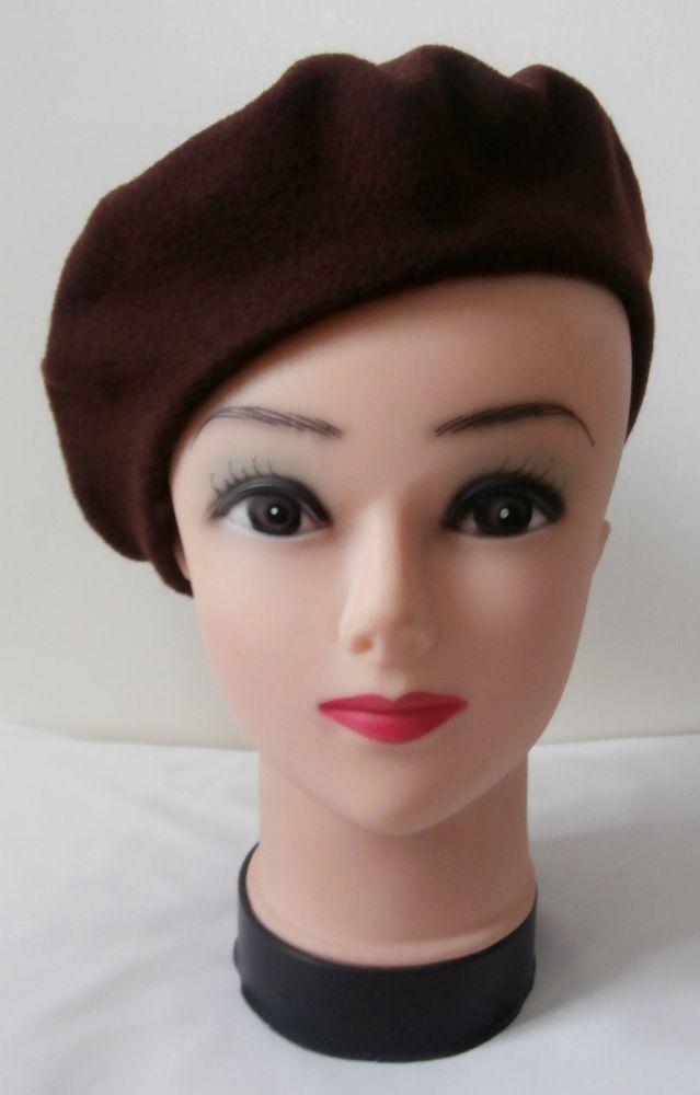 BNWOT Vintage 1940s Dark Brown Felted Wool   Azlon Beret Genuine Deadstock 4b0c88ad01dc