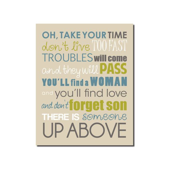 Mother Son Song For Wedding: Lyrics To Skynyrd's Simple Man Printable 8x10 Quote Print