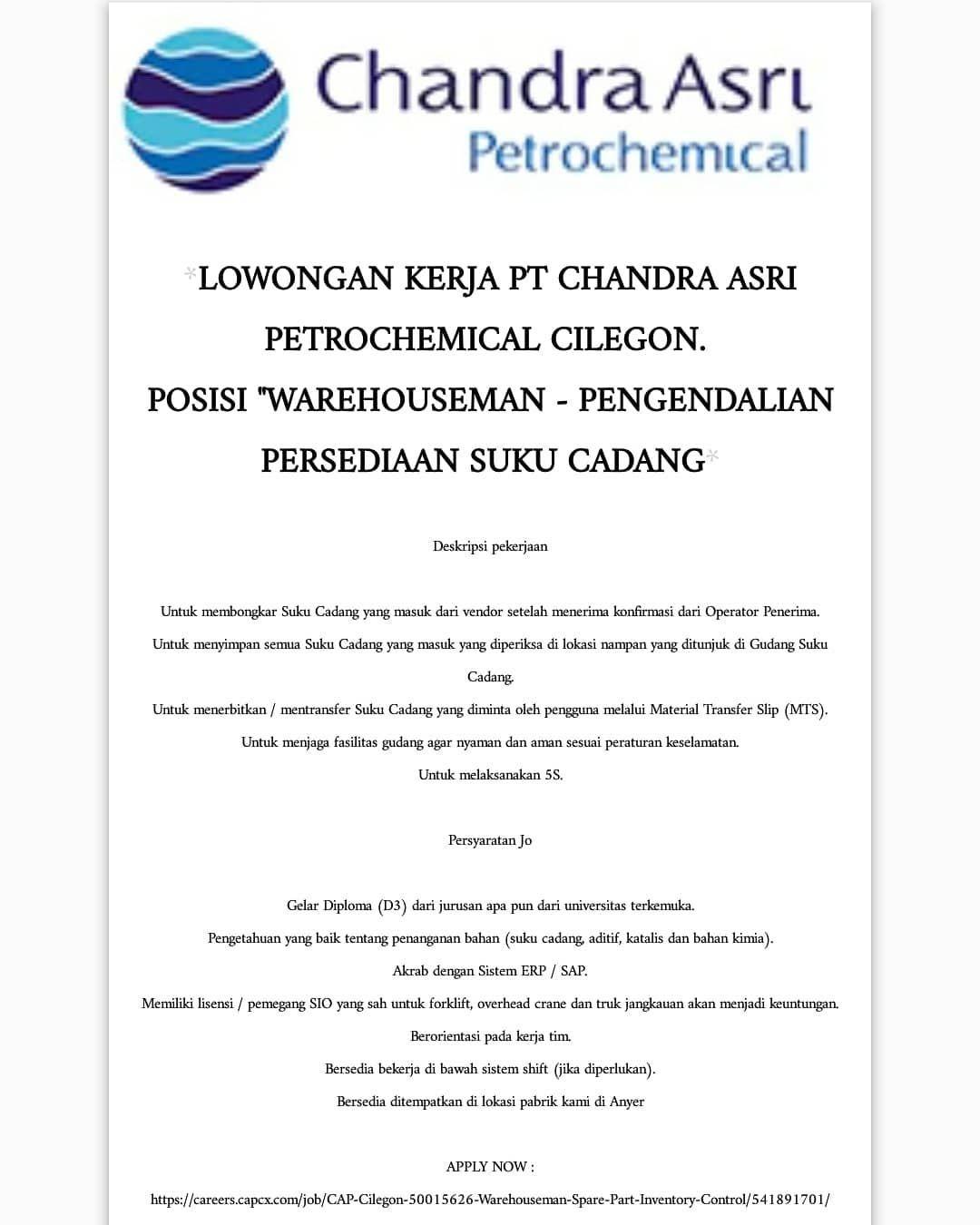 Lowongan Kerja Pt Chandra Asri Petrochemical Cilegon Bagi Yang Berminat Silahkan Langsung Dilamar Simak Informasinya Dengan Baik Lokerswasta With Images Screenshots