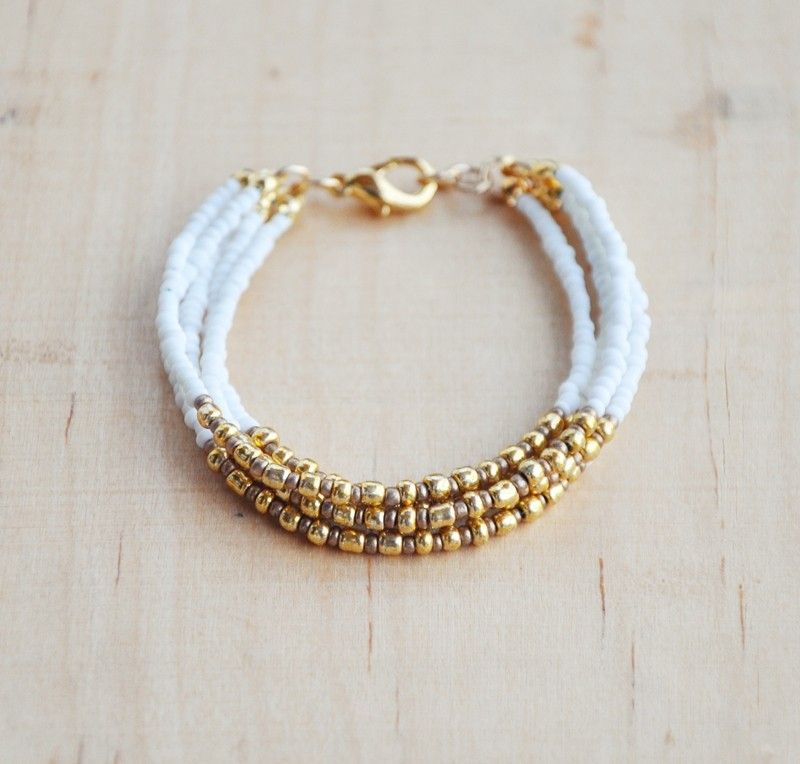 Handmade Multi Strand bracelets | White and Gold Multi-strand Bracelet | SisMade Jewelry