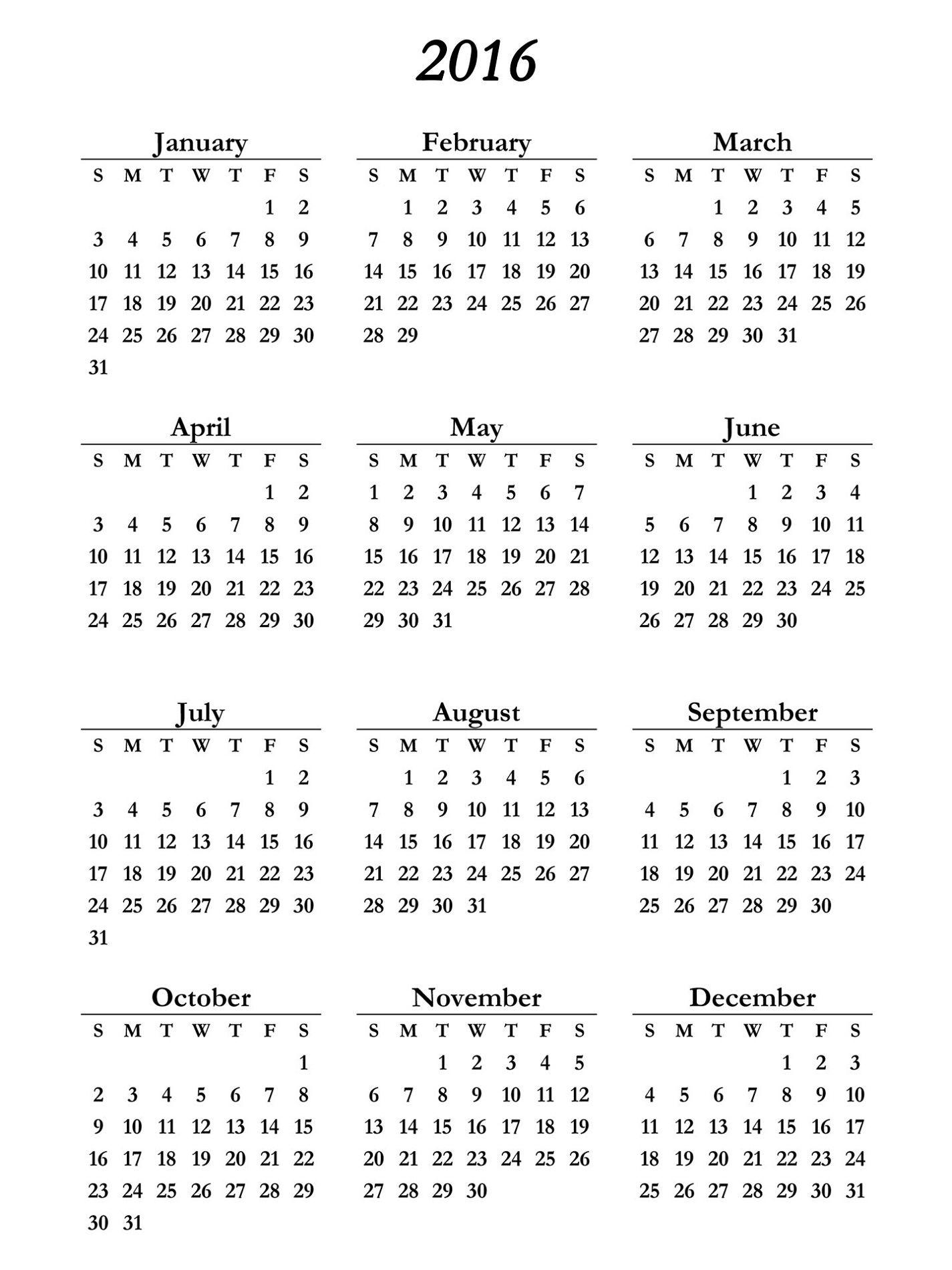 Yearly Calendar 2016 Printable Blank Calendar Template 2016