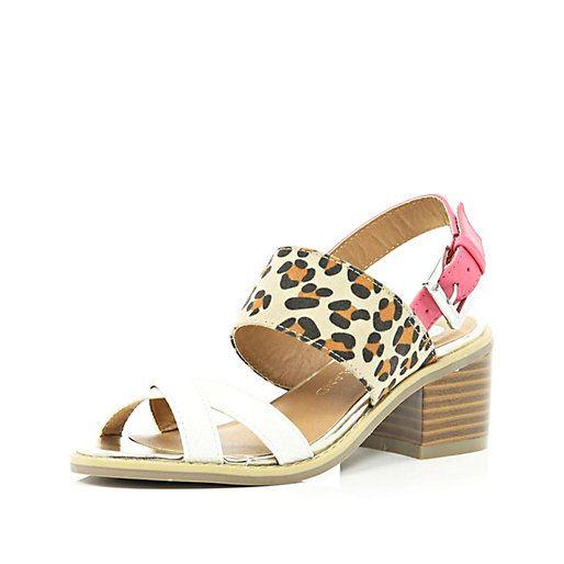 Girls leopard print mix block heel sandal