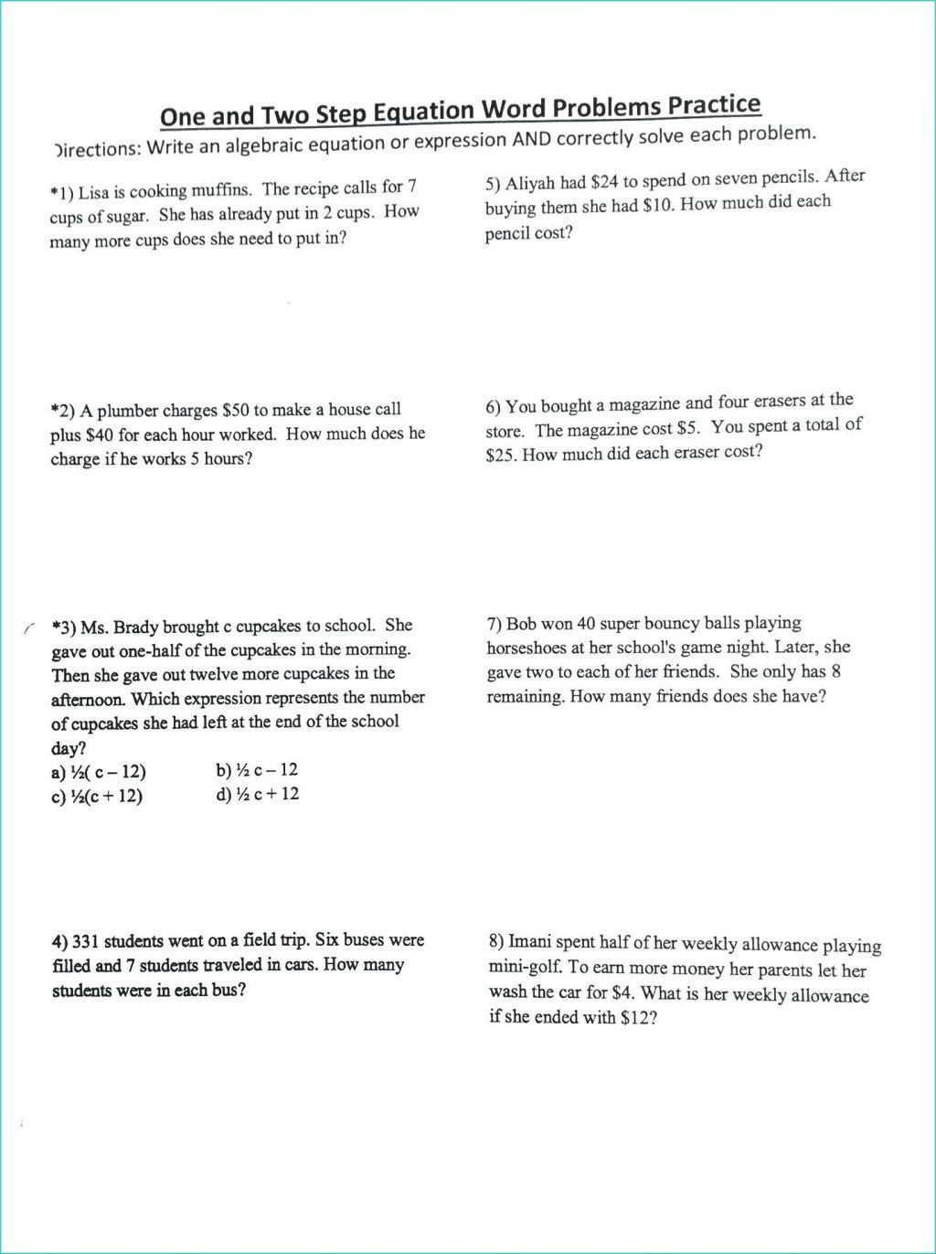 3 Writing Equations From Word Problems Worksheet
