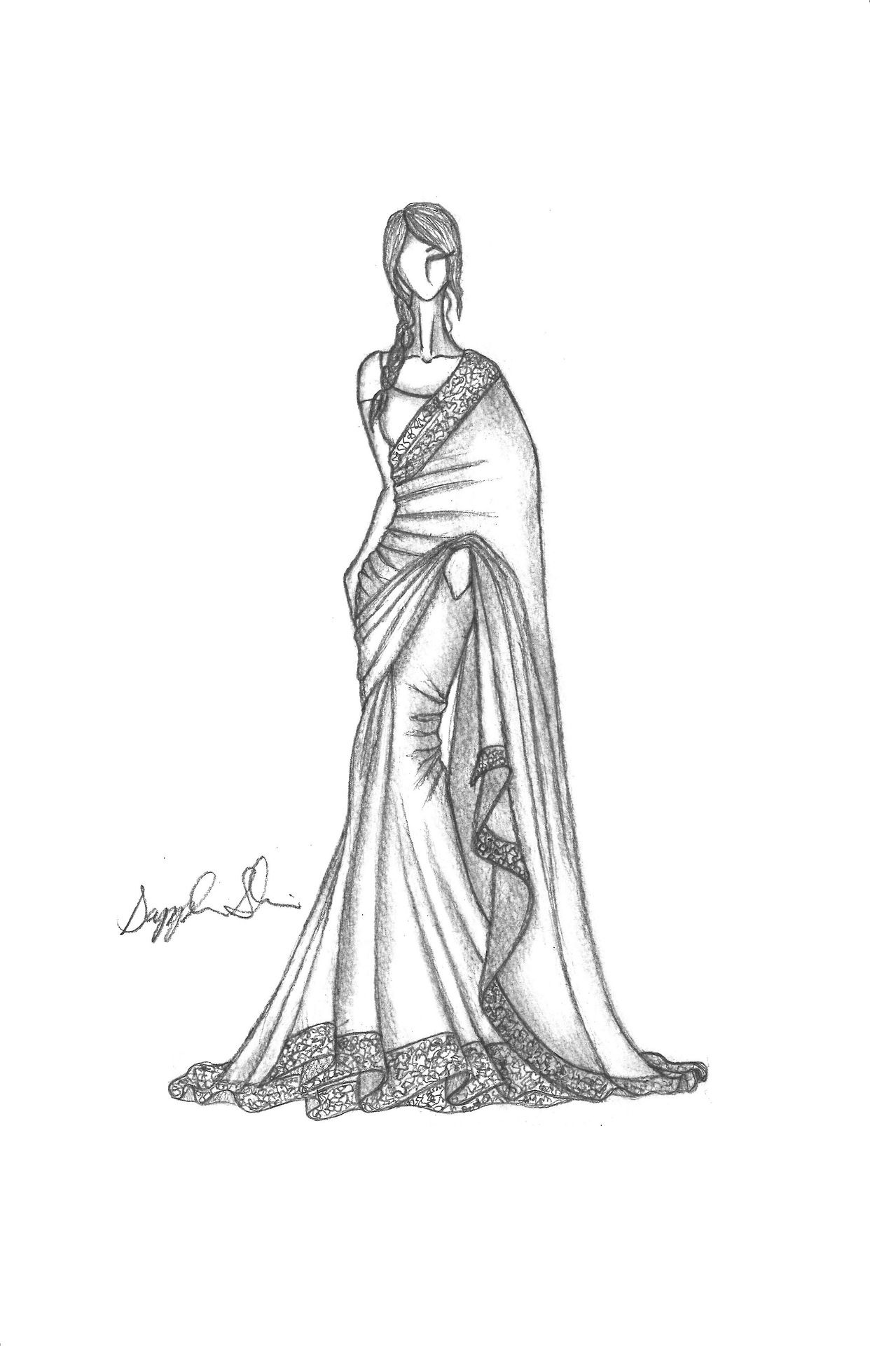 Pencil Illustration Of Indian Sari Fashion Illustration Sketches Fashion Illustration Sketches Dresses Illustration Fashion Design