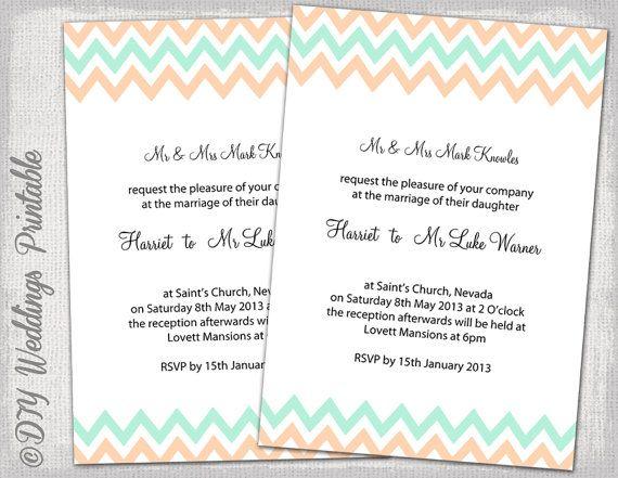 Wedding Invitation Template Mint And Peach Chevron DIY
