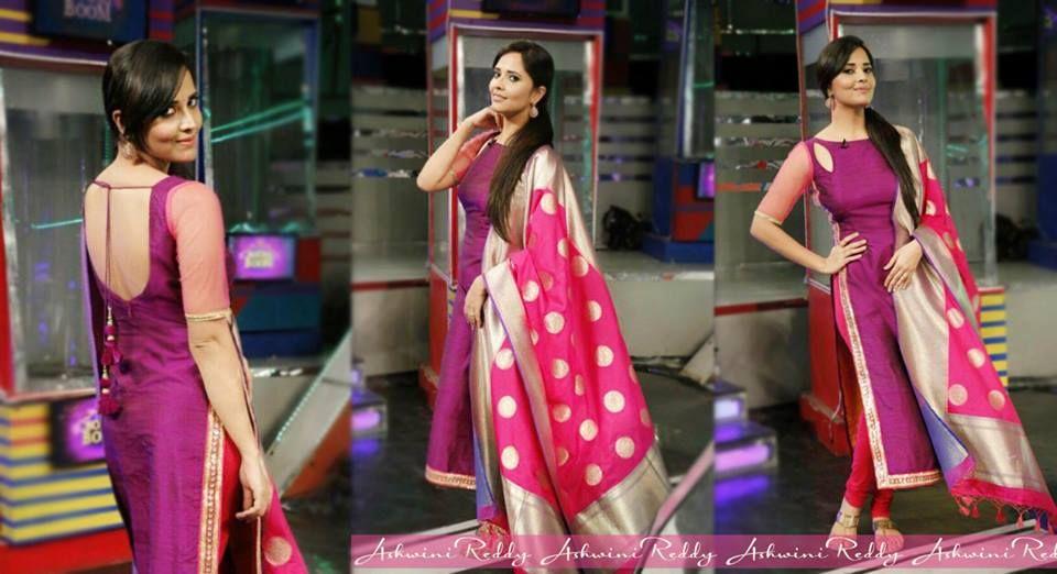 704f49f541 Anasuya Bharadwaj in our label, yet again! #ashwinireddy #anasuyabharadwaj  #silkdupatta #benarasdupatta #purple #pink #indian