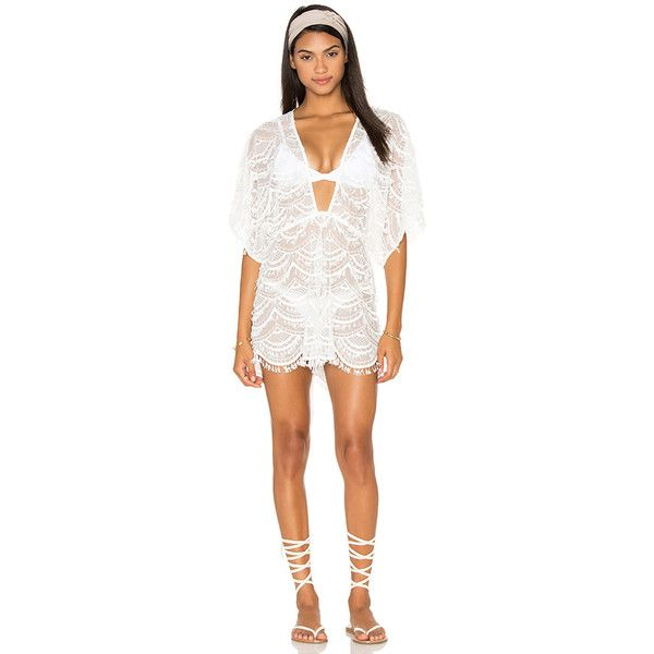 Nookie Mondrian Lace Romper Cover Up (3,840 MXN) ❤ liked on Polyvore featuring swimwear, cover-ups, swim, beach cover up, swim wear, swim swimwear, lace cover ups and swim cover ups
