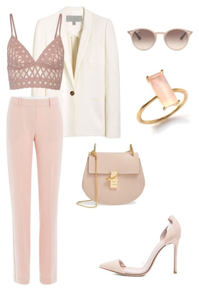 """Pink Chic Style"" by bshujewelry ❤ liked on Polyvore featuring Mulberry, Theory, Jonathan Simkhai, Ray-Ban, Gianvito Rossi and Chloé"
