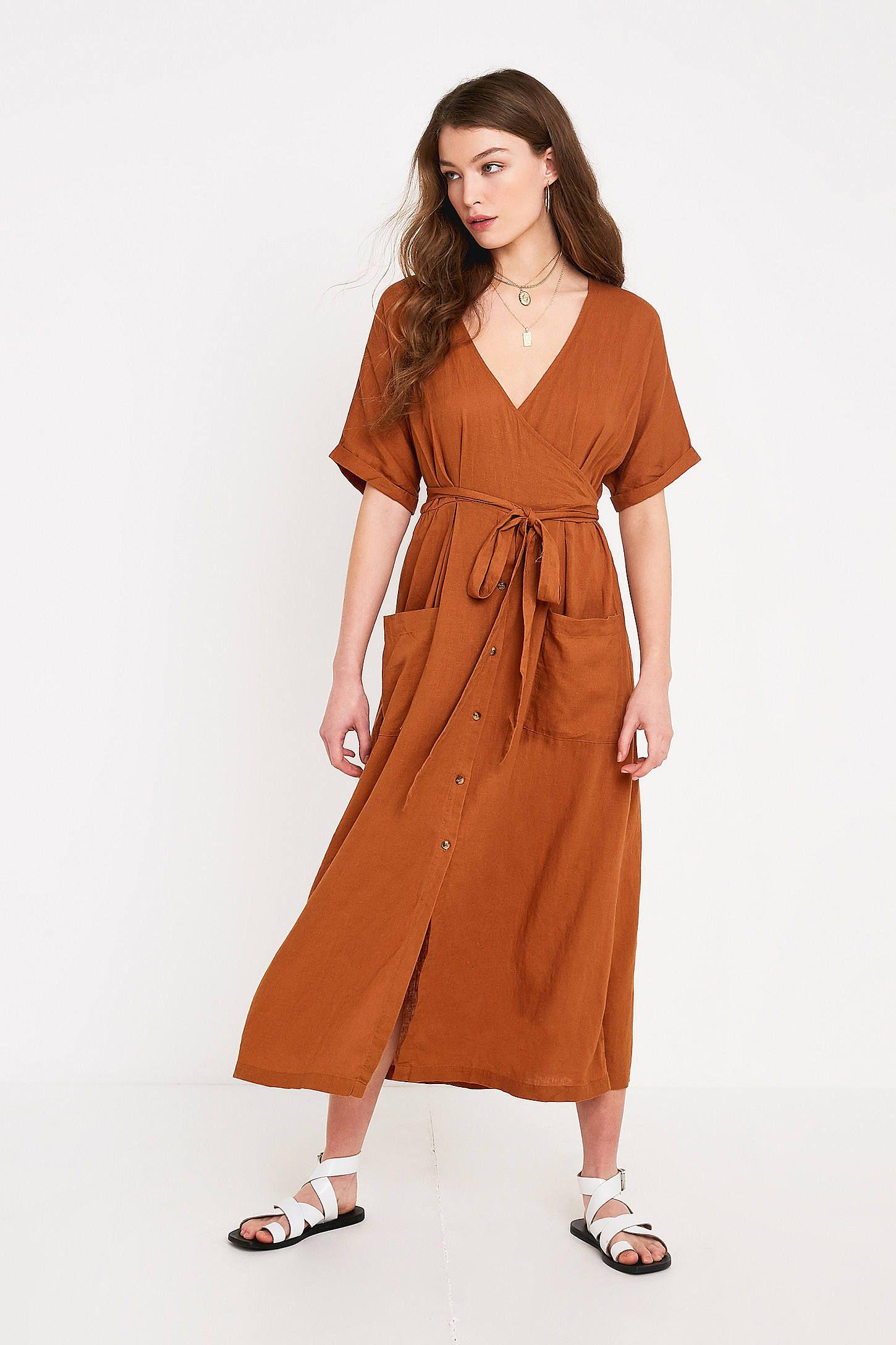 Uo Isabelle Tan Linen Midi Dress Linen Midi Dress Midi Dress Urban Dresses [ 2175 x 1450 Pixel ]