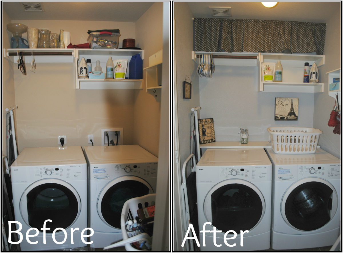 Six Cents Laundry Room Makeover Love The Towel Rail Under Shelves And Shelf Over Back Of Appliances For Storage To Stop Things Falling